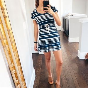 H&M Navy and White Striped Sundress / Coverup